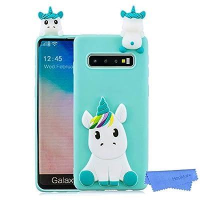 HopMore Silicona Funda para Samsung Galaxy S10 Plus Dibujo 3D Unicornio Panda Divertidas TPU Kawaii Ultrafina Slim Case Antigolpes Caso Protección Flexible Cover Design Gracioso - Unicornio Verde