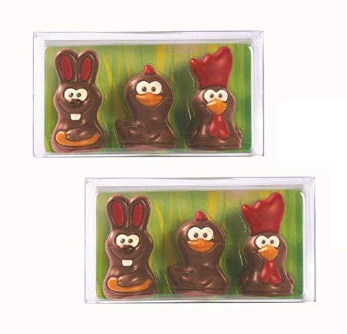 De Schutter Astuccio 3 Figure di Cioccolato al Latte Coniglio Pulcino Gallo con Decorazioni - 2 x 54 Grammi