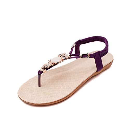 Slippers Women Shoes Hot Women Sandals Elastic T-Strap Bohemia Beaded Owl Slipper Flat Sandals Women Summer Shoes Flip Flop,Purple,6.5