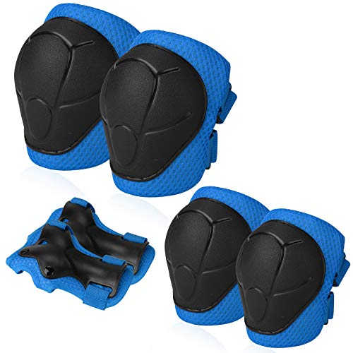 Sports Protective Gear Safety Pad Safeguard (Knee Elbow Wrist) Support Pad Set Equipment for Kids Roller Bicycle BMX Bike Skateboard Protector Guards Pads(Blue)