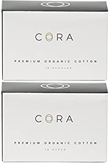Cora Organic Cotton Non-Applicator Tampons; Chlorine & Toxin Free - Variety Pack - Regular/Super (36 Count)
