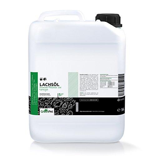 GreenPet Aceite de salmón 5 Litros para Perros, Gatos y Caballos, ácidos grasos omega-3, producto puro 100% natural, ideal como complemento alimenticio diario, suplemento de barf
