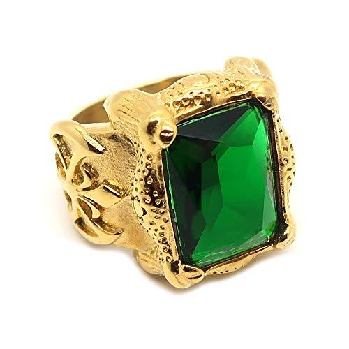 BOBIJOO JEWELRY - Gran Sello del Anillo de Hombre de Acero Chapado en Oro Patriótica Fleur-de-LYS Verde Rey - 14 (7 US), Dorado - Acero Inoxidable 316