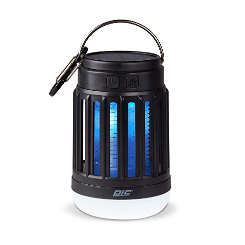 PIC Solar Portable Lantern & Bug Zapper, Kills Bugs on Contact - Twin Pack