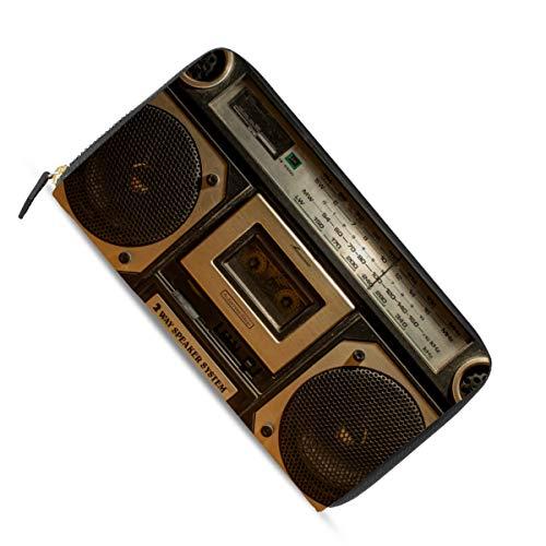 Ahomy Damen Geldbörse mit langem Reißverschluss, Vintage-Stil, Radio, Kassettenrekorder, Leder, Geldbörse, mehrere Kreditkarten, Bargeld, Tasche, Clutch