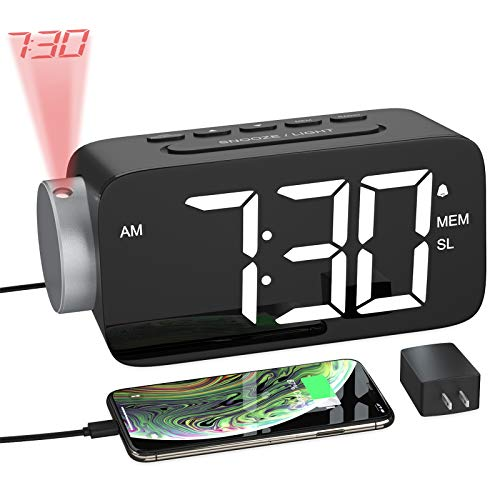 "YISSVIC Projection Alarm Clock Radio Digital Alarm Clocks for Bedrooms 6.3"" Screen Led Clock with USB Charger 4 Dimmer 12/24 Hour Switch 180° Rotation Projection on Ceiling Wall"