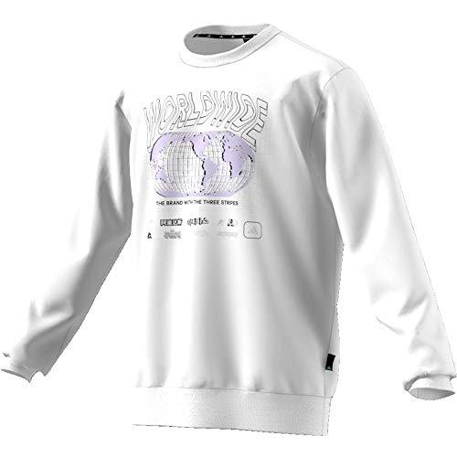 adidas M Pack Crew Sweatshirt, Herren L Weiß / Schwarz