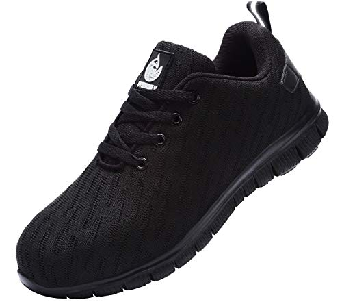 Zapatillas de Seguridad Mujer,Trabajo con Puntera de Acero Transpirable Reflectante Botas de Seguridad(Negro,39)