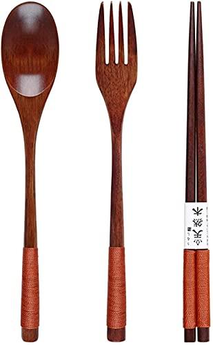 ZRB Utensil Set, Wood Spoon Fork Chopsticks Set Long Handle Wooden Fork Spoon Dinnerware Set Portable Cutlery Dinner Set Camping Travel Tableware Setof3PcsBlack,Flatware Set (Color : Setof3pcsbrown)