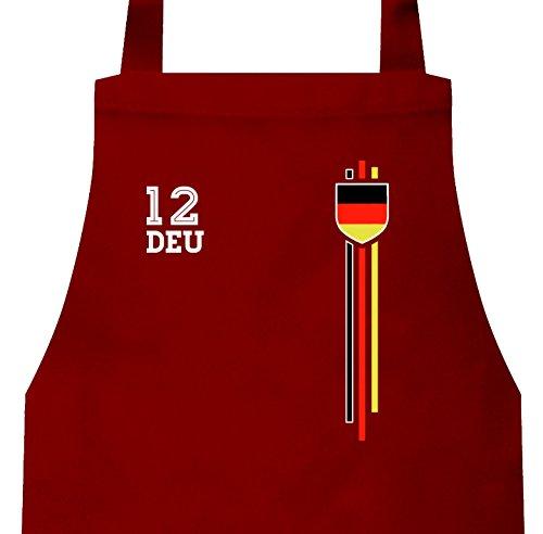 ShirtStreet Germany Soccer World Cup Fussball WM Fanfest Gruppen Frauen Herren Barbecue Baumwoll Grillschürze Kochschürze Streifen Trikot Deutschland, Größe: onesize,Rot