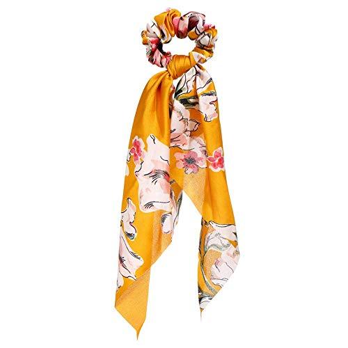 BJKKM Suave Fashion Floral Print Scrunchies Sólido Cinta de Pelo Largo para Mujeres Panaly Bufanda Sweet Elástico Cabello Accesorios para el Cabello para la Ducha cosmética Facial Yoga Deportes