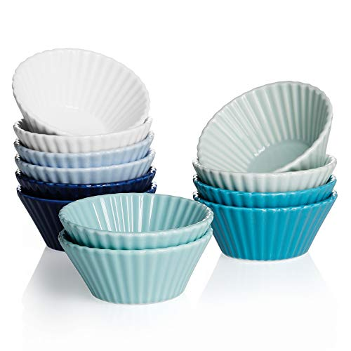 Sweese Porcelain Baking Cups, Mini Muffin Pan, Non-Stick Cupcake Set, Alone Cupcake Holder, set of 12, Multicolor, Cool Assorted Color