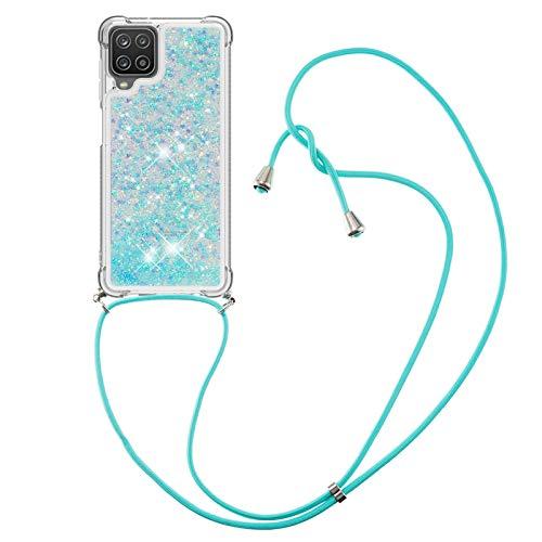 HülleLover Handykette Handyhülle für Samsung A12 5G, Glitzer Flüssig Bewegende Treibsand Transparent Silikon Hülle mit Kordel zum Umhängen Necklace Hülle Band für Samsung Galaxy A12 5G, Silber Blau