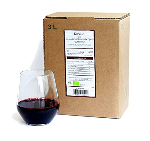 3 litri di succo di ribes nero BIO - 100% succo diretto di ribes nero BIO, senza additivi - ribes nero succo madre BIO in pratica scatola di succo