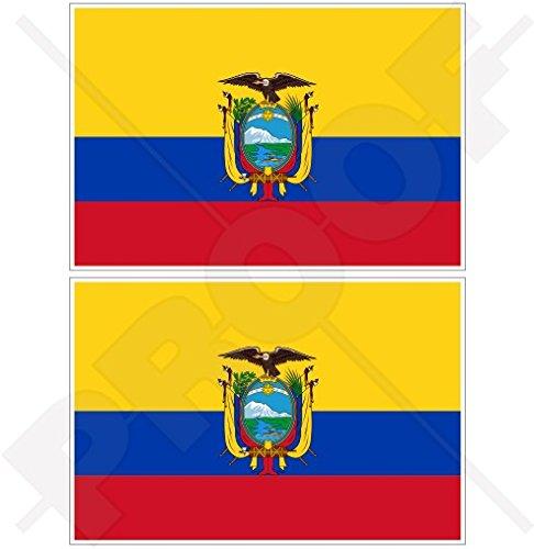 Lot de 2 autocollants pour pare-chocs en vinyle Motif drapeau Equateur Amérique du Sud, 75 mm