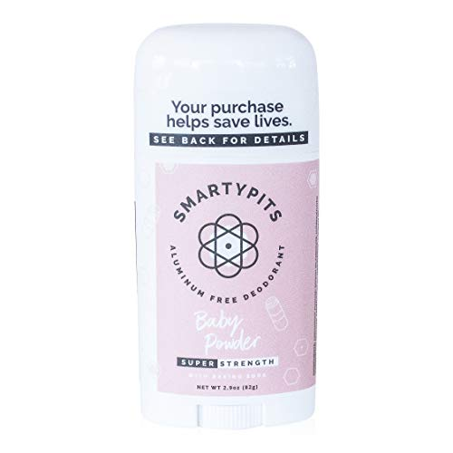 SmartyPits - Natural/Aluminum-Free Deodorant (with baking soda) Paraben Free, Phthalate Free, PROPYLENE GLYCOL FREE, Not Tested on Animals | 2.9oz (Baby Powder)