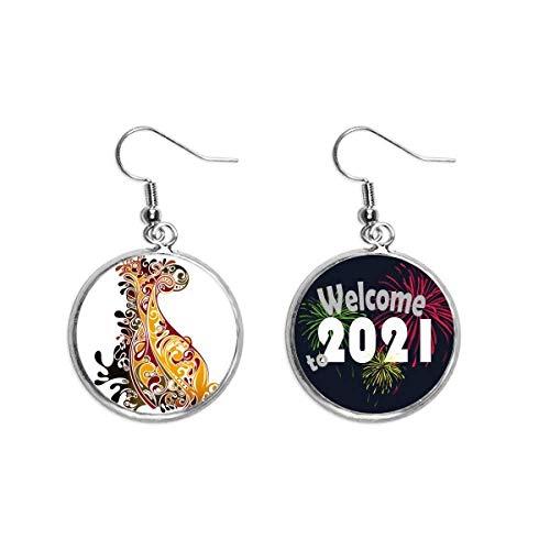 Colorido pavo real animal arte esquema oído colgantes pendiente joyería 2021 bendición