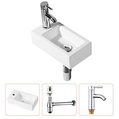 Lavabo colgado en la pared - Lavabo en la esquina del baño Lavabo colgado en la pared Lavabo rectangular pequeño montado en la pared Lavabo de cerámica Moderno en blanco - Grifo para desagüe incluido