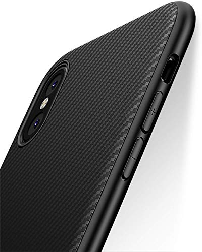 Coque iPhone XS, Coque iPhone X, Yokase Ultra Mince Carbon Fiber TPU Shock Absorption [Poids léger] [Anti-rayures]...