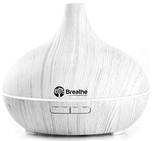Breathe Essential Oil Diffuser | 550ml Diffusers for Essential Oils with Cleaning Kit & Measuring Cup | 16 LED Color Light Options, 5 Timer Settings, 2 Mist Outputs, Auto Power Off (White Marble)