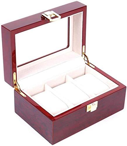 Caja de reloj Soporte de caja de reloj 3 Caja de reloj Ventana de exhibición Caja de exhibición de joyería Organizador con compartimentos Transparente Con tapa Almohadillas extraíbles