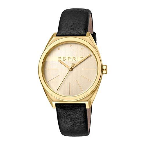 Esprit roestvrij stalen horloge met lederen armband