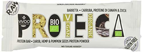 Vivoo Proteica - Barretta - Carruba, Proteine di Canapa e Zucca - 16 Confezioni da 35 g