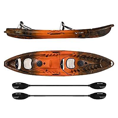 Vibe Kayaks Skipjack 120T | 12ft Tandem Kayak | 2 Person, Sit On Top Kayak w/ 2 Paddles & 3-Position Hero Seat