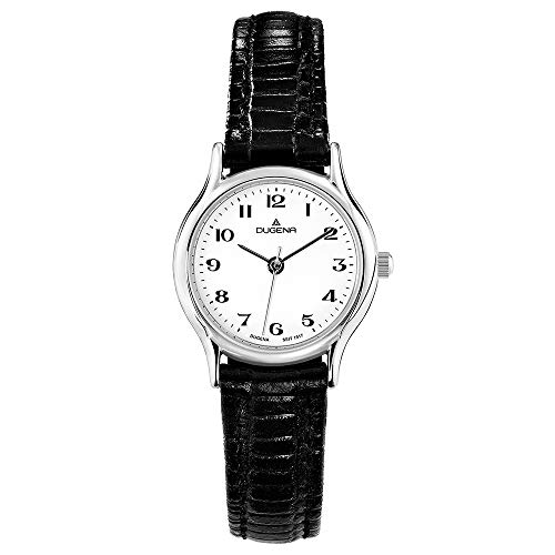 DUGENA Damen-Armbanduhr 1626331 Vintage, Quarz, weißes Zifferblatt, Edelstahlgehäuse, gehärtetes Mineralglas, Lederarmband, Dornschließe, 3 bar