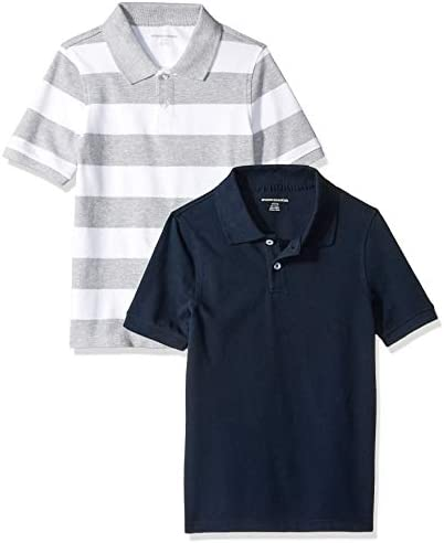 Amazon Essentials Toddler Boys Uniform Short Sleeve Pique Polo Shirts 2 Pack Grey White Rugby product image
