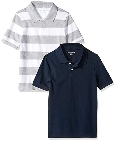 Essentials Toddler Boys' Short-Sleeve Uniform Pique Polo, 2-Pack Grey and White/Navy Rugby, 3T