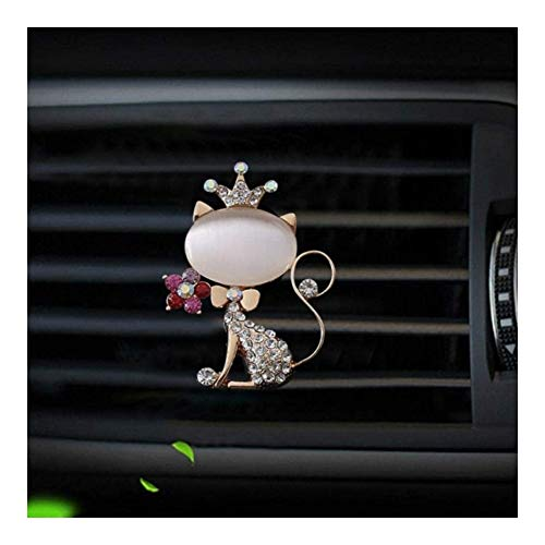 LPQSY Auto-Lufterfrischer, Auto Essential Oil Diffuser, Kristall-Diamant-Fox Klimaanlage Vent-Dekor Auto Air Outlet Parfüm Clips Zubehör (Farbe : White)