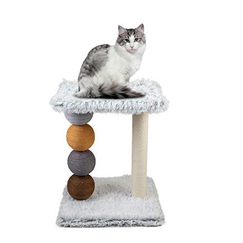 Le Stelle Tiragraffi per Gatti Bianco Rivestimento Peluche con Giochi Palle Colorate Palo in Sisal e 2 Ripiani 55X42X30 cm