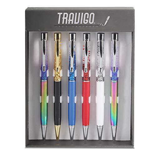 Travigo 6-Piece Set of Floating Flakes Metal Ballpoint Pens | Black Ink | Twist-Action | Assorted Barrel Colors (Rainbow)