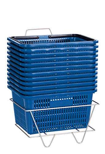 Blue Shopping Baskets with Stand - Set of 12
