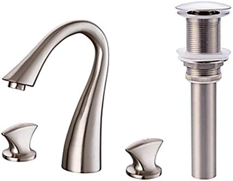Ayhuir Weit Verbreitet Messing Ventil, Zwei Griffe, Drei Lcher, Nickel Pinsel Wasserhahn, Badewanne Wasserhahn
