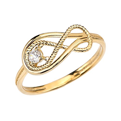 Diamond Rope Infinity 10k Yellow Gold Ring (Size 7.75)