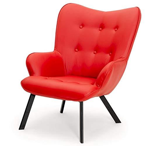 Fotel z ekoskóry Cherub Żelek (czerwony)