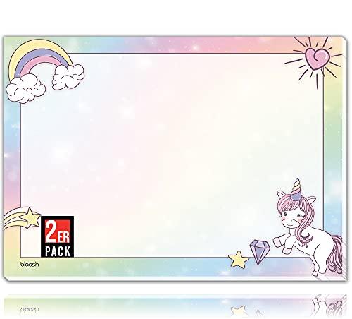 blaash® Tapete de escritorio de unicornio de papel DIN A3 para niños, 25 hojas, bloc de notas y planificador semanal para tareas, reuniones y especiales de la semana, base de escritorio para niñas, A3