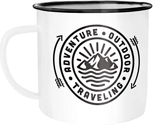 Moonworks Enamel Mug Outdoor Design Logo Emblem Adventure Travelling Camping Trekking Coffee Mug White / Black Enamel