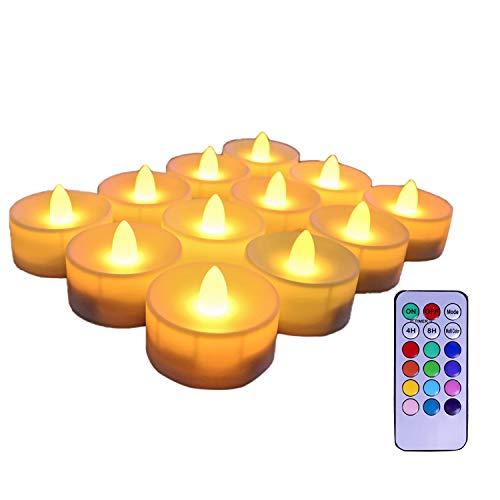 Luntus Velas Sin Llama de 6 Piezas, Luces LED de Té con Pilas, Velas Falsas, Velas LED con Temporizador de 18 Teclas, Control Remoto