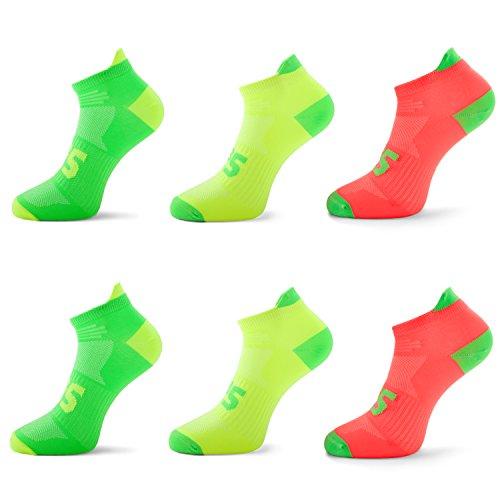 SLS3 - Calcetines antiampollas para correr – Calcetines de neón delgados – Calcetines de ciclismo para hombre y mujer – Corte bajo – Soporte de arco (6 unidades, lima/melón/amarillo, M)