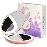 H/L Funzione Portable LED Specchio Cosmetico con 2X Lente d'Ingrandimento, Non Solo HD Specchio Superficie, Ma Anche Compatto E Leggero Facile da Trasportare E da Utilizzare,Rosa