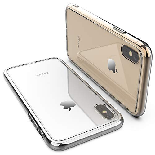 RORSOU iPhone Xs Max Case, Clear Hard 9H Tempered Glass Back Cover [Anti-Scratch] + Soft TPU Bumper [Slim Thin] Premium Hybrid Protective Case for Apple iPhone Xs Max 6.5 Inch (2018) - Crystal Clear