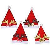 Sombrero de Sant, 4 piezas Gorro Navideño, Adultos Disfraces de Navidad Decoración, Reno de Papa Noel Sombrero Para suministros festivos de Navidad y Año Nuevo
