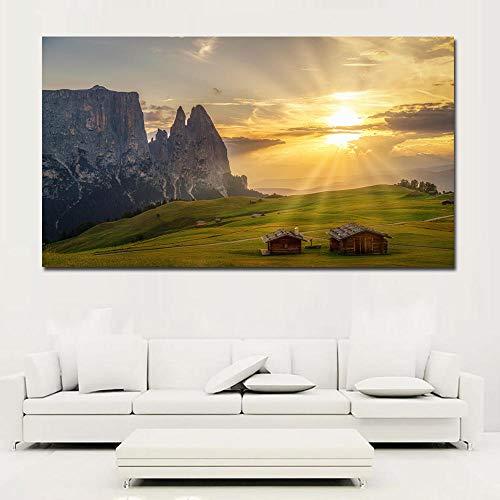 SJLAQ en el Sol Italia Pastizales Casas Paisaje de montaña Lienzo Pintura Arte de la Pared Impresiones Carteles Decoración para el hogar-50x90cmx1 pcs sin Marco