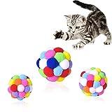 smatime Juguetes Gatos Bolas 3 Piezas Bolas Pompones de Gato con Campana Pelota Hinchable de Felpa Colorida para Mascotas Juguetes Masticar Juguetes interactivos para Gatos Gatito L M S