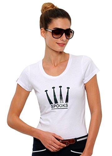 SPOOKS T Shirt für Damen Mädchen Kinder, tailliert Sommer Tshirt mit Aufdruck aus Frotee - bequem & stylisch Crown - XS-XL (L, White)