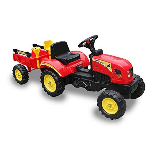 Tractor A Pedales con Remolque Color Rojo