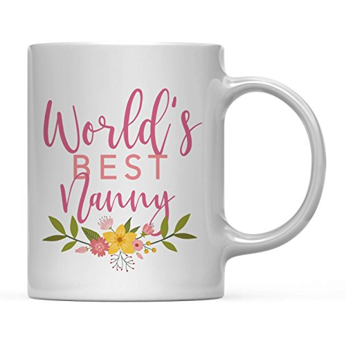 Andaz Press 11oz. Coffee Mug Gag Gift, World's Best Nanny, Floral Flowers Design, 1-Pack